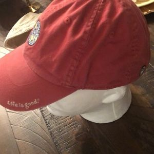 Life Is Good Accessories - VTG LIFE IS GOOD dad hat RED